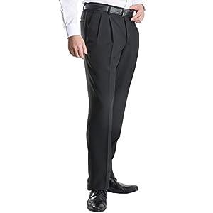 【MARUTOMI】ビジネス スラックス ウォッシャブル ツータック 家庭で洗える メンズ 仕事 ポリエステル100%素材 パンツ pants 【A】ブラック (ツータック) 7450M-1-79