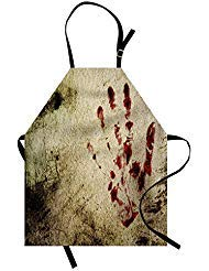 Ambesonne Horror House Apron, Grunge Dirty Wall with Bloody Hand Print Murky Palm Trace Victim Violence Print, Unisex Kitchen Bib with Adjustable Neck for Cooking Gardening, Adult Size, Beige Red