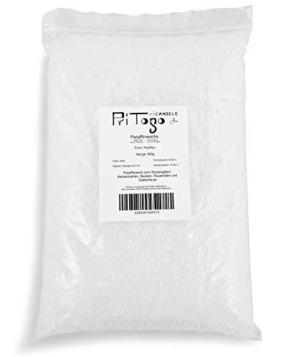 Pritogo Paraffinwachs für Kerzen | weiß | Granulat/Pastillen | Vollraffiniert - Markenqualität (900g)