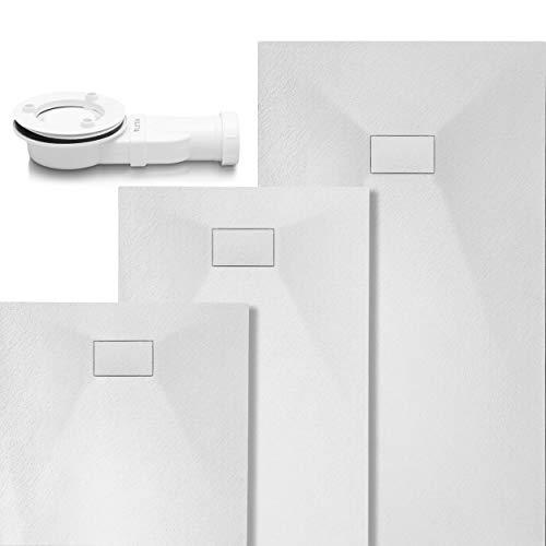 VILSTEIN Duschwanne | Antirutsch Duschtasse | flach | Steinoptik | inkl. Siphon und SMC Abdeckung | 90x90 cm | Weiß