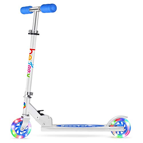 BELEEV Roller Kinder 2 Räder Klappbar Kick Scooter für Mädchen Jungen, 3 Höhenverstellbare Kinderscooter, PU LED-Räder Kinderroller(Blau)