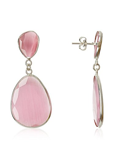 Córdoba Jewels | Pendientes en plata de Ley 925 y piedra semipreciosa. Diseño Naisha rosa de Francia