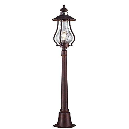 Vintage Classique Lampadaire LANTERNE, verre clair onde, lampadaire en métal pour jardin Marron foncé voies excl. 1 E27 100 W IP44