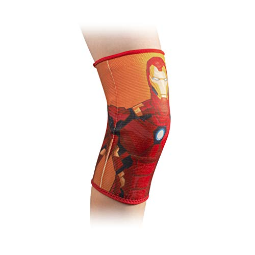 DonJoy Advantage Kids Elastic Knee Sleeve Compression Brace Featuring Marvel to aid Knee Pain Sprains Swelling Soreness Youth - Iron Man X-Small