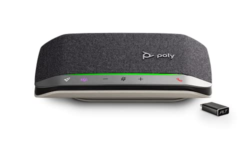 Poly - Sync 20+ Bluetooth Speakerphone (Plantronics) - Personal Portable Speakerphone - USB-C Bluetooth Adapter - Connect to Your PC/Mac/Cell Phone - Works with Teams (Certified), Zoom & More