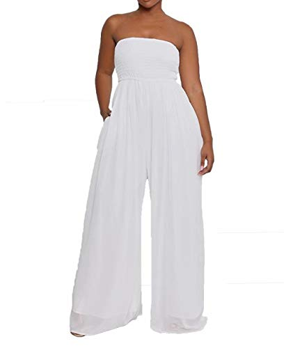 IyMoo Womens Jumpsuits and Rompers - Summer Off Shoulder Strapless Loose Wide Leg Jumpsuit Long Romper White L
