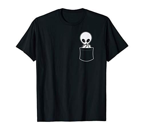 Funny Alien Giving Middle Finger Gift - Fake Pocket Shirt
