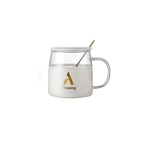 wanhaishop Taza de café Taza de café de Gran Capacidad de Cristal Transparente Taza de café Resistente al Calor con Taza de la Oficina de la Oficina y la Cuchara Taza de té