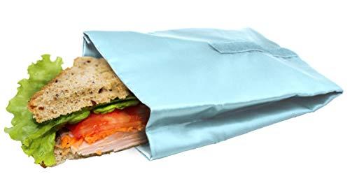 NERTHUS Bolsa para Sandwich Reutilizable Azul Pastel, ecológica, Adaptable, facil de Limpiar y Apta para Lavadora, 10,5x14x18,5 cm