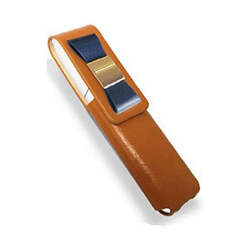 IQOS 3 MULTI 専用 アイコス3 リボン 本革 マルチ ケース (ライトブラウン/ネイビーリボン) iQOSケース シンプル 無地 保護 カバー 収納 カバー 全4色 電子たばこ 革