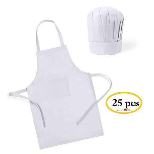 Publiclick Lote 25 Delantales + Gorros de Cocina Infantiles para Niños Blancos - Delantales Niños Juveniles