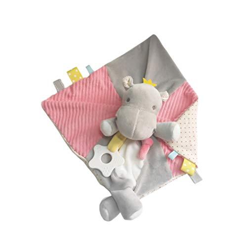 TOYANDONA Manta de Seguridad para Bebés Hipopótamo Suave Peluche de Felpa Juguete Relajante Toalla para Dormir Sonajeros Pacificadores Juguete para Bebé Hogar Habitación Gris