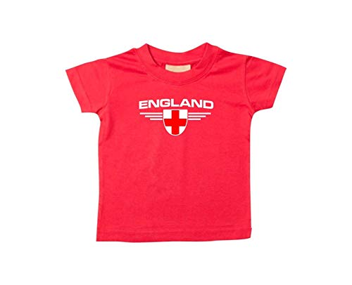Shirtstown Bébé Enfants-Shirt England, Armoiries Nom Souhaité et Numéro au Choix Land, Pays - Rouge, 18-24Monate