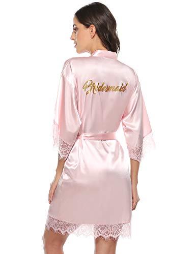 Aibrou Damen Morgenmantel Bademantel Kurz Satin Robe Kimono mit Spitze Nachthemd Nachtwäsche Sleepwear mit Gürtel für Braut Brautjungfern Pink-Brautjungfer M