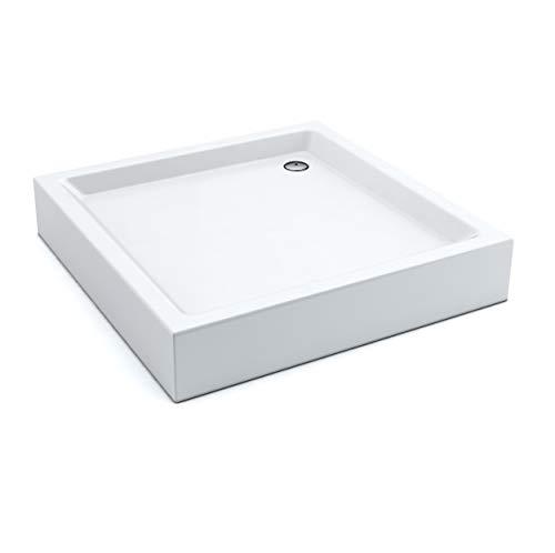 Duschwanne/Duschtasse Komplettset AQUABAD® NORMA | Maße: 80x80cm quadratisch | 3x Standfüße und einer Viega Domoplex Ablaufgarnitur