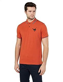 Splash Basic Contrast Trim Chest Logo Short Sleeves Polo Shirt for Men