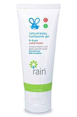 Rain Natural Baby Kids Fluoride Free Toothpaste Gel - Infant Toddler Tooth Paste, 2.8 Oz Safe to Swallow, Babies Dental Training, Vitamin C, Ages 6 to 12 Months and Up Watermelon Toothpaste for Kids