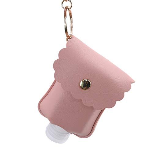 JKLBNM Pissette Portable Cuir Les Bouteilles vides en Plastique Voyage Clair Flip Cap avec Porte-conteneurs Leakproof Porte-clés en Cuir,Rose
