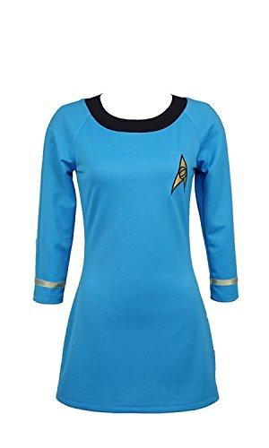 CosDaddy/ Star Trek Cosplay Kostüm weiblich Betriebsart Kurzarm Uniform Blau (L)
