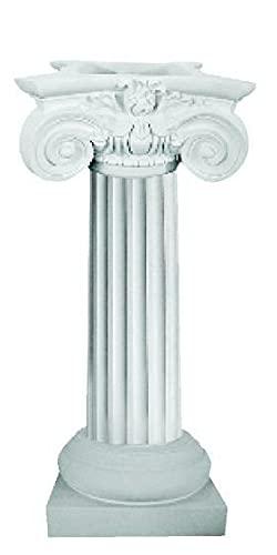 Columna de rayas blancas de poliuretano con base y cabezal. Ideal como decoración y jardinera....