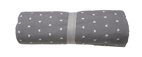 BA COLLECTION Grandfoulard - Telo copritutto - copridivano - copriletto- tendaggio col. Grigio MOD. Cuoricini 240x260 cm