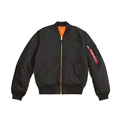 Alpha Industries Men's Slim-European Fit MA-1 Flight Jacket (L, Black)
