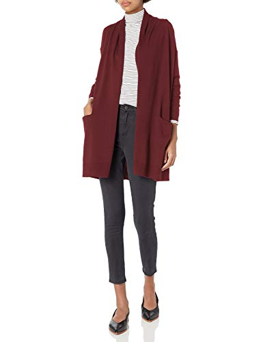 Amazon Brand - Daily Ritual Women's Fine Gauge Stretch Long-Sleeve Cardigan Sweater, Burgundy, Medium