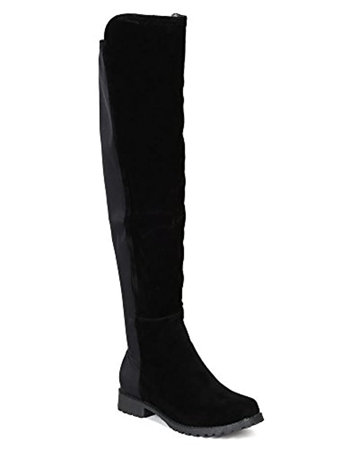 BH12 Women Suede Knee High Stretch Low Heel Riding Boot BI12 - Black