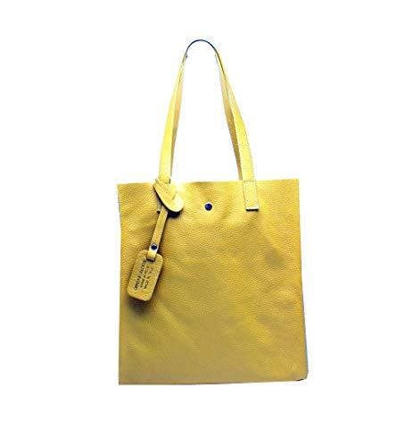 Oktradi® Damen Shopper Leder Schultertasche Handtasche Ledertasche Laptoptasche Beutel 30 x 34 x 11 cm Made in Italy (Gelb)