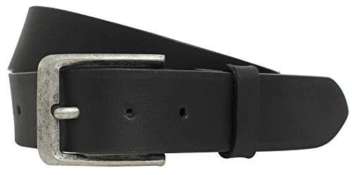 Gusti Gürtel Leder - Kellen schlichter Ledergürtel mit silberner Schnalle Anzug Gürtel Herren 90 cm Schwarz Leder