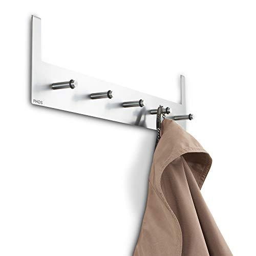 PHOS Edelstahl Design, TG5, Türgarderobe mit 5 Garderobenhaken, für Türen bis zu...