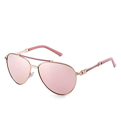 FSCLJ Gafas de Sol de Montura Grande Gafas de Sol polarizadas de Moda para Hombres y Mujeres de Europa y América Gafas de Sol de Montura Completa de Metal Retro UV400