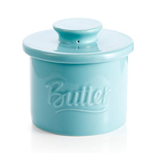 Sweese 322102 Porcelain Butter Crock Keeper  French Butter Dish with Lid  Butter Relief Turquoise