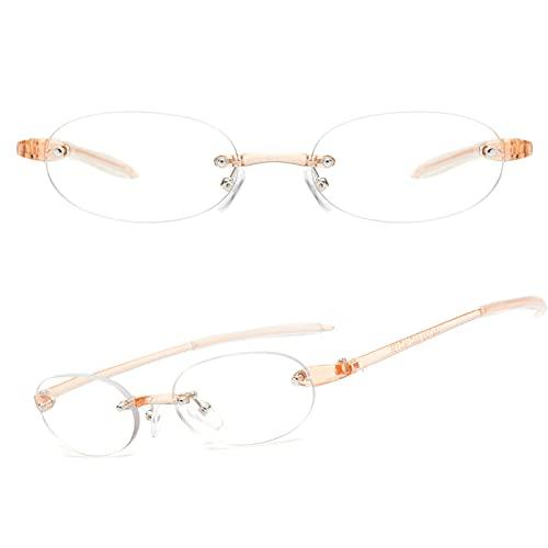 JIMMY ORANGE 老眼鏡 軽い おしゃれ ブルーライトカット リムレス 縁なし メンズ レディース 携帯用 軽量 リーディンググラス オレンジ 度数+100 JO621