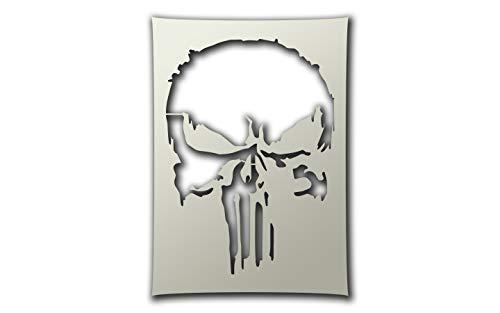 PixieBitz The Punisher Style Skull Schablone – A4 Airbrush, zum Schwamm, Aerosol, Pastellfarben, Schnee ST-FL-Punisher18
