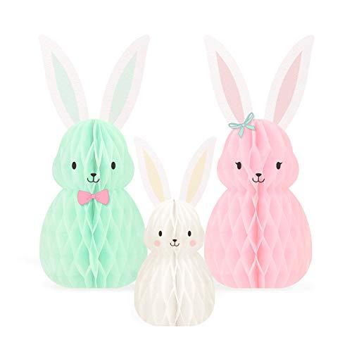 NICROLANDEE Lot de 3 décorations de Pâques famille de lapins