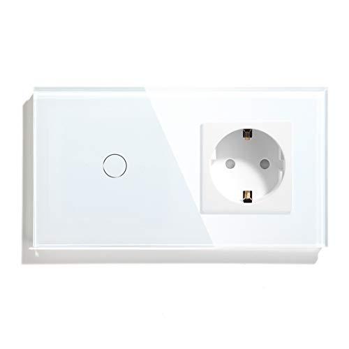 BSEED Touch Lichtschalter mit Schuko Steckdose, 1 Fach 1 Weg Wandschalter mit Steckdose, Touchschalter mit Glasrahmen 157mm - Weiß (Max. Last: 3-300 W)