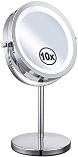 YESSICA 10x Magnified Lighted Makeup Mirror Double Sided Round Magnifying Vanity Mirror (with On/Off Button, 10X)