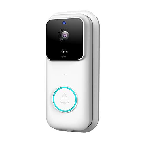FEDBNET Timbre de vídeo WiFi, con cámara inalámbrica de detección de movimiento de visión nocturna de 1080p, fácil instalación, impermeable, timbre inteligente de seguridad para el hogar