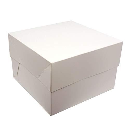 Cajas para pasteles. Cuadradas. Blancas. Paquete de 5. ¡Ideales para llevar tus creaciones!, Blanco, 10' (25,4 cm)