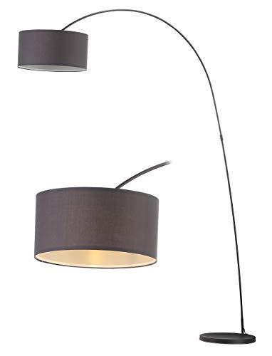 Modernluci Bogenlampe Stehlampe Modern für das Wohnzimmer Grau Schlafzimmer lampen zeitnah arc Stehleuchte Skandinavischer Stil mit Textilschirm ø40cm Höhe:228 cm E27-Fassung MEHRWEG, Grau