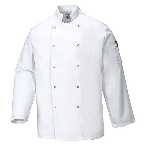 Portwest C833WHRM Chaqueta de Chef, Suffolk , M, Blanco (White)