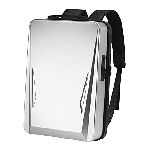 F Fityle Mochila para portátil de 17,3 Pulgadas con Carcasa Dura, Mochila para Ordenador portátil antirrobo para Juegos con Puerto USB, Bolsa de Viaje de - Plata