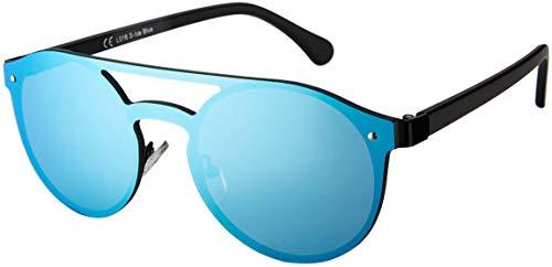 La Optica B.L.M. Herren Sonnenbrille UV400 CAT 3 Damen Pilotenbrille Fliegerbrille Rund Rahmenlos - Metall Schwarz (Gläser: Hellblau verspiegelt)