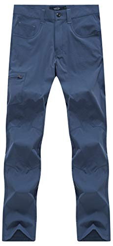 svacuam Women's Lightweight Stretchy Hiking Pants with Large Zipper Pockets, Water Resistant(Blue,L)