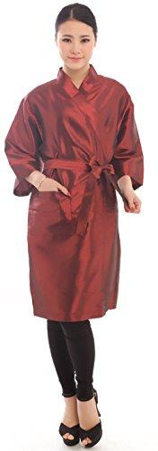 Bata para clientes de salón de belleza con estilo de kimono, de 109cm, color negro