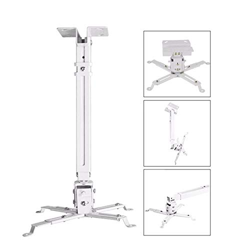 A1 Gadgets 2' Feet Heavy Duty Adjustable Projector Ceiling Mount Stand Adjustable Bracket Hanging Kit for Dell Benq Sony Sharp Vewsonic etc.White