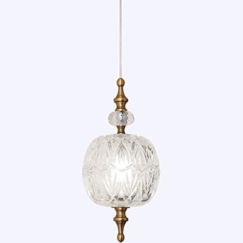 TLOLGT Antique Delicate Decorative Pattern Glass Ceiling Pendant Lighting Adjustable Mini Pendant Light for Kitchen Island Dining Room Bedroom with Original Design