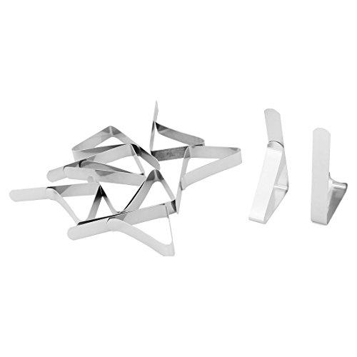 sourcingmap® 10Stk Bankett Picknick Metall verstellbar Schreibtisch Tischtuch Halter Silber de