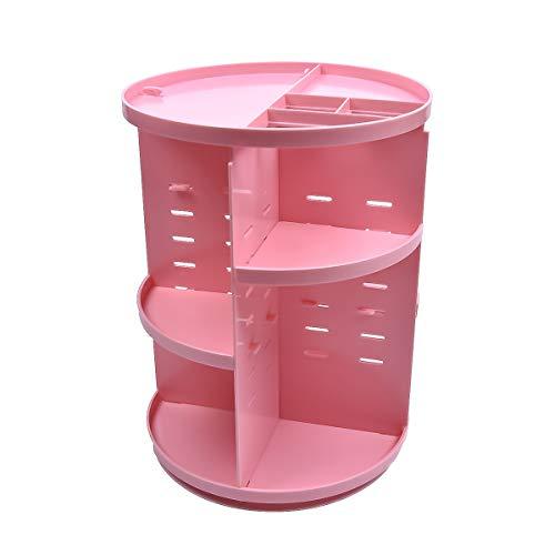 Organiseur de maquillage rotatif à 360 degrés, support de rangement réglable, grande capacité, idéal pour le comptoir, HZJ-001, rose
